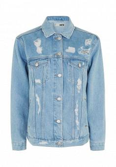 Куртка джинсовая, Topshop, цвет: голубой. Артикул: TO029EWRMD16. Женская одежда / Тренды сезона / Летний деним / Джинсовые куртки