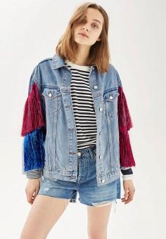 Куртка джинсовая, Topshop, цвет: голубой. Артикул: TO029EWSQL49. Женская одежда / Тренды сезона / Летний деним / Джинсовые куртки
