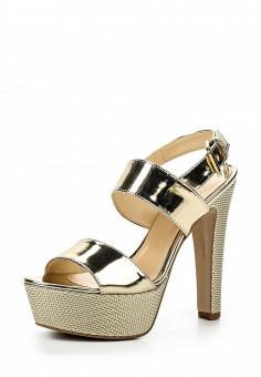 Босоножки, Trussardi Jeans, цвет: золотой. Артикул: TR016AWOOA79. Премиум / Обувь / Босоножки