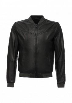 Куртка кожаная, Trussardi Jeans, цвет: черный. Артикул: TR016EMJOH61. Мужская одежда / Верхняя одежда / Кожаные куртки