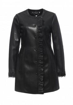 Куртка кожаная, Twin-Set Simona Barbieri, цвет: черный. Артикул: TW005EWOWJ76. Женская одежда / Верхняя одежда / Кожаные куртки