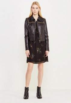 Куртка кожаная, Twin-Set Simona Barbieri, цвет: черный. Артикул: TW005EWUMD17. Женская одежда / Верхняя одежда / Кожаные куртки