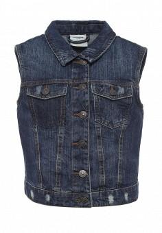 Жилет джинсовый, Vero Moda, цвет: синий. Артикул: VE389EWOLY77. Женская одежда / Верхняя одежда / Жилеты