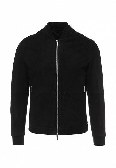 Куртка кожаная Boss Hugo Boss черный BO246EMNOX68 Индия  - купить со скидкой