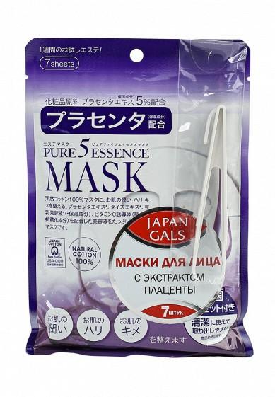 Маска Japan Gals с плацентой Pure 5 Essential, 7 шт JA022LWFXC27 Япония  - купить со скидкой