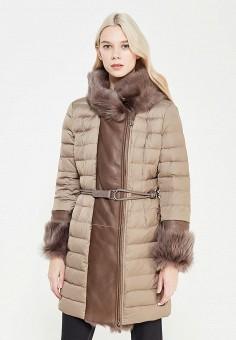 Пуховик, Baldinini, цвет: бежевый. Артикул: BA097EWXRV28. Женская одежда / Верхняя одежда / Пуховики и зимние куртки / Длинные пуховики и куртки