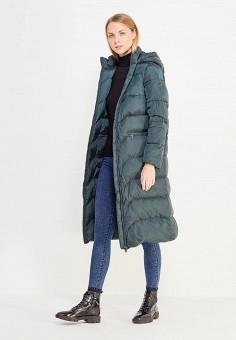Пуховик, Finn Flare, цвет: зеленый. Артикул: FI001EWUZY01. Женская одежда / Верхняя одежда / Пуховики и зимние куртки