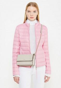 Пуховик, Patrizia Pepe, цвет: бежевый, розовый. Артикул: PA748EWTUR53. Женская одежда / Верхняя одежда / Пуховики и зимние куртки