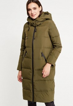Пуховик, Savage, цвет: хаки. Артикул: SA004EWVJW75. Женская одежда / Верхняя одежда / Пуховики и зимние куртки / Длинные пуховики и куртки