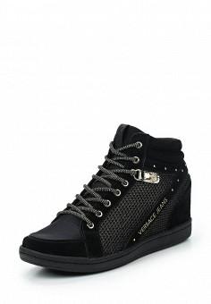Кеды на танкетке, Versace Jeans, цвет: черный. Артикул: VE006AWUBI88. Женская обувь / Кроссовки и кеды / Кеды